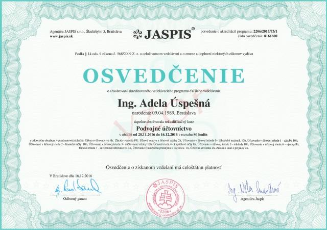 Akreditované osvedčnie Agentúra JASPIS